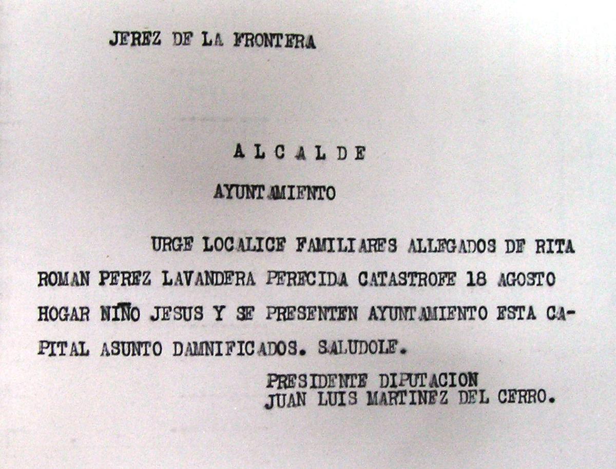 Telegrama solicitando la localización de familiares de la víctima Rita Román Pérez