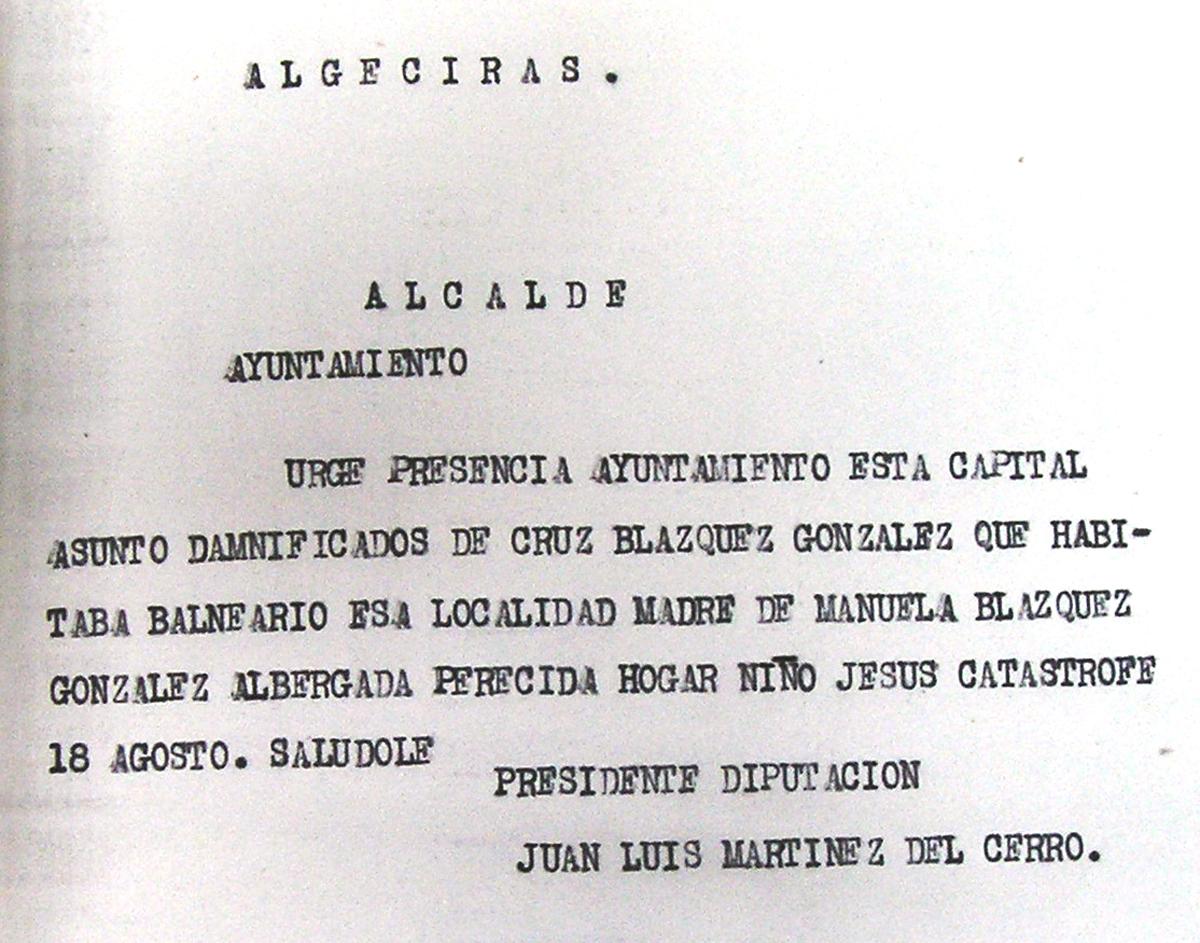 Telegrama solicitando la localización de la madre de la niña albergada Manuela Blázquez González