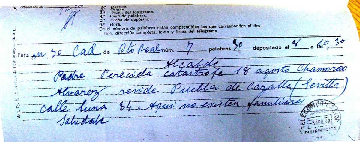 Telegramas en los que se intenta localizar a los familiares de Juana Chamorro Álvarez