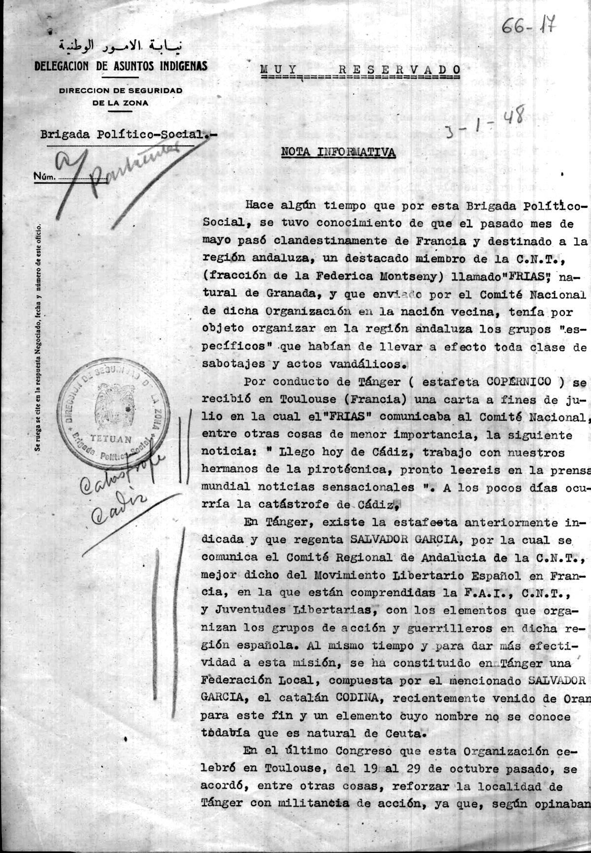 Informe de Asuntos Indígenas sobre la actividad guerrillera en Tetuán 1