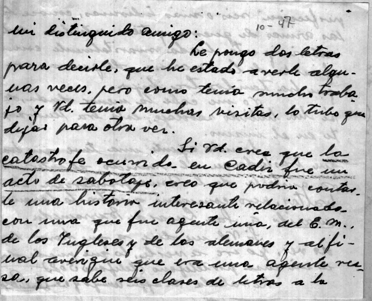 Carta dirigida a Varela sobre un posible acto de sabotaje por una pareja de espías 1