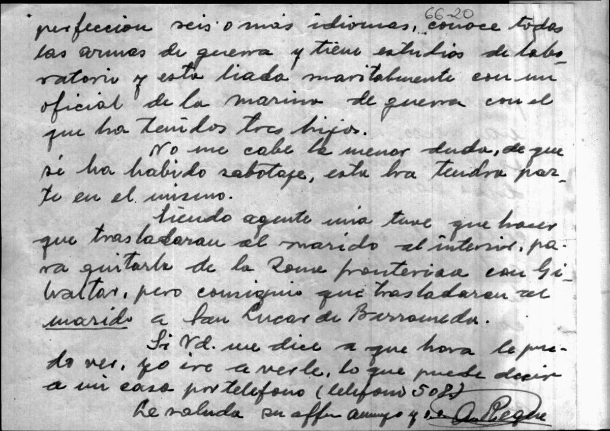 Carta dirigida a Varela sobre un posible acto de sabotaje por una pareja de espías 2