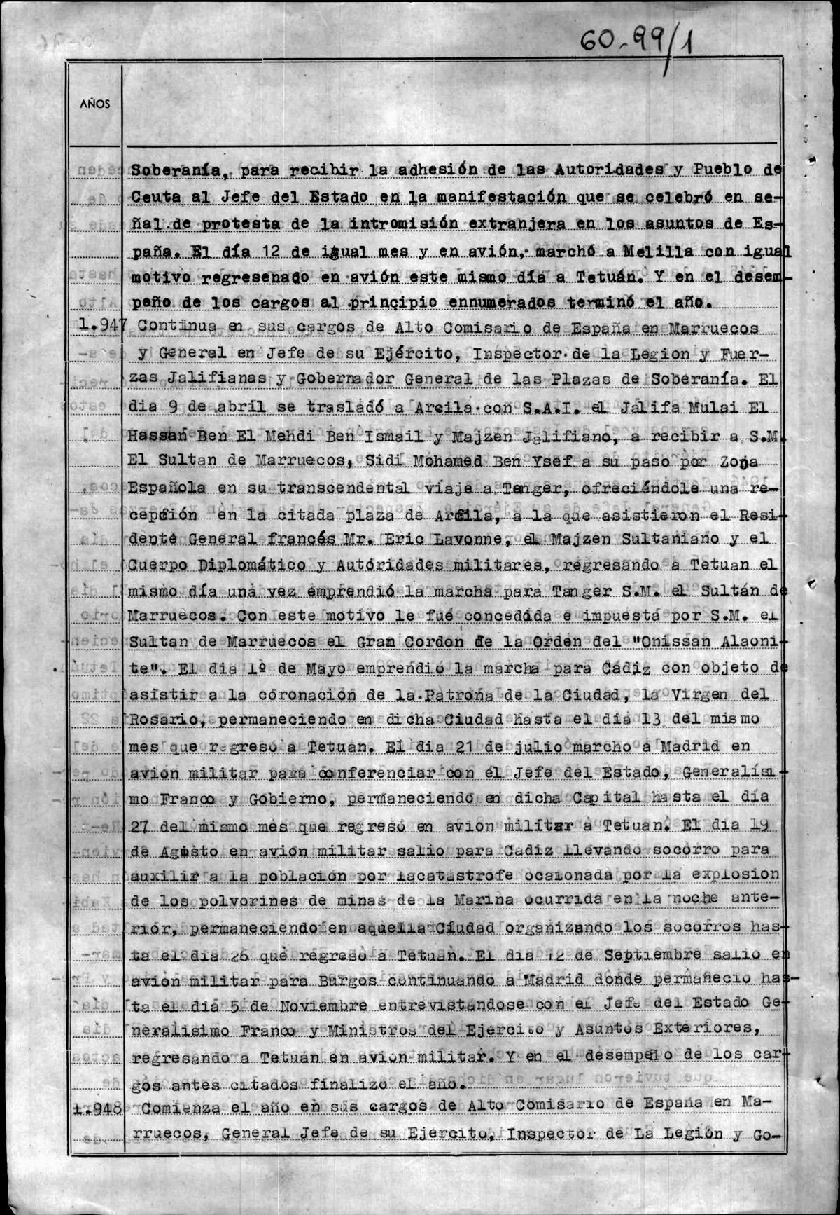 Extracto de la hoja de servicio de Varela donde se habla de su participación en la Catástrofe de Cádiz