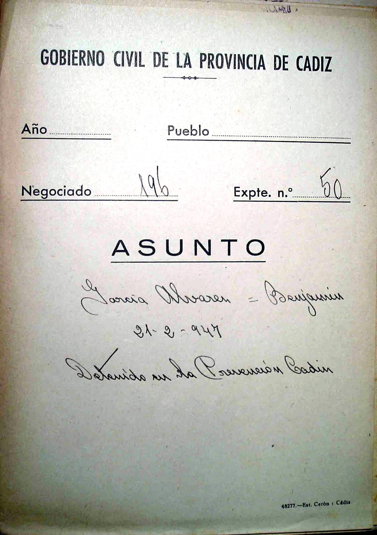 Portada del expediente Nº 50 del Gobierno Civil sobre la detención de Benjamín García Álvarez
