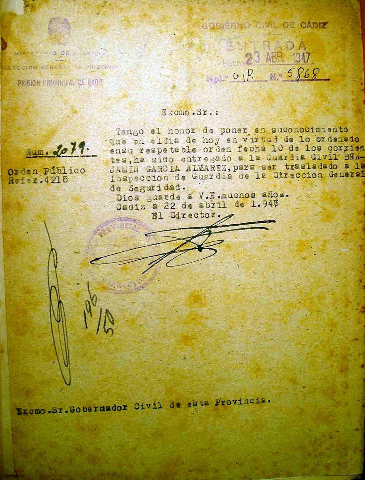 Notificación de entrega a la Guardia Civil de Benjamín García Álvarez