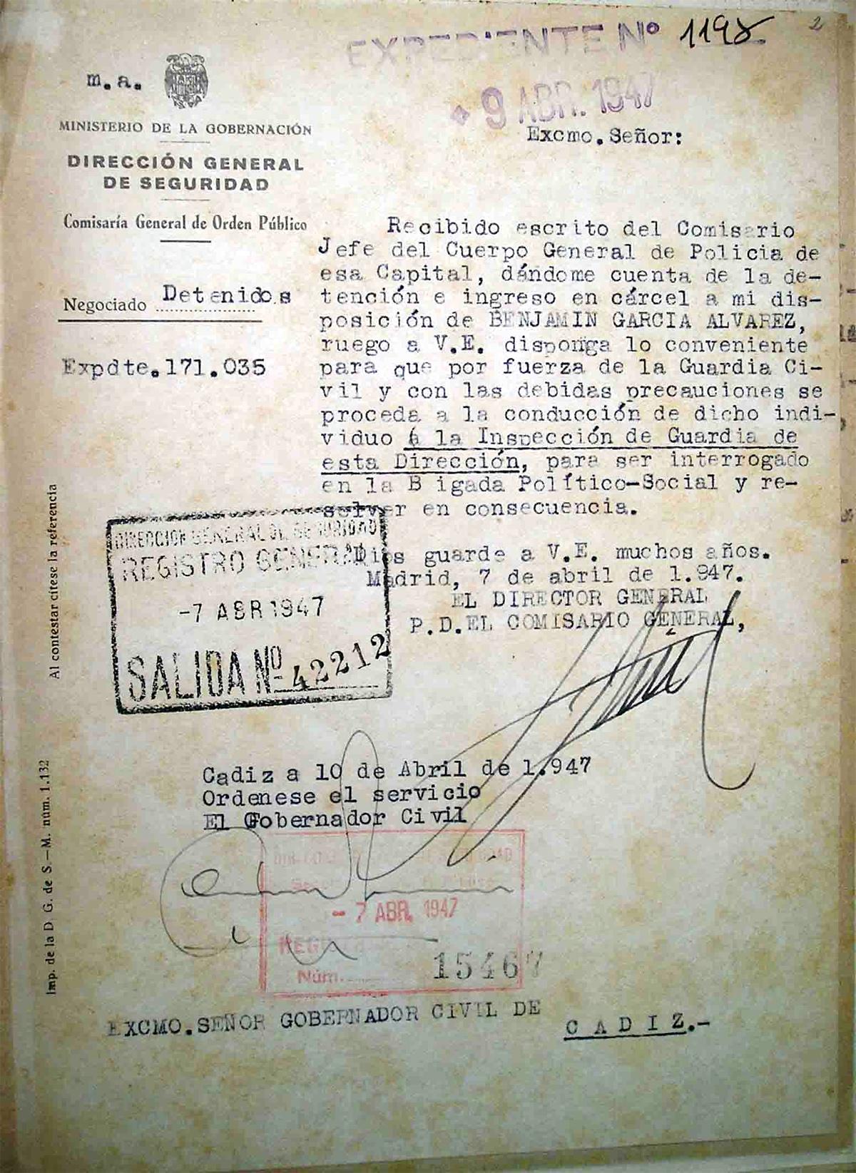 Escrito de la Dirección General de Seguridad solicitando la entrega del detenido Benjamín García Álvarez