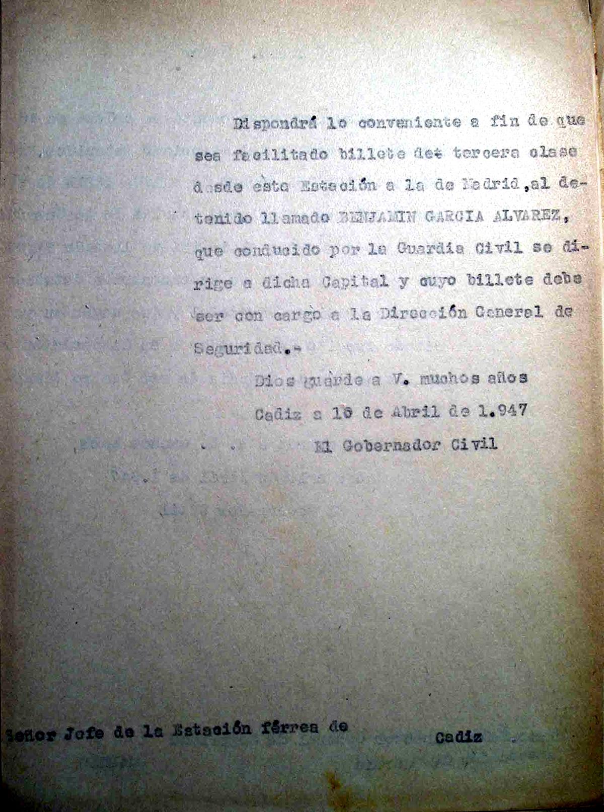 Solicitud de billete de ferrocarril para el traslado de Benjamín García Álvarez