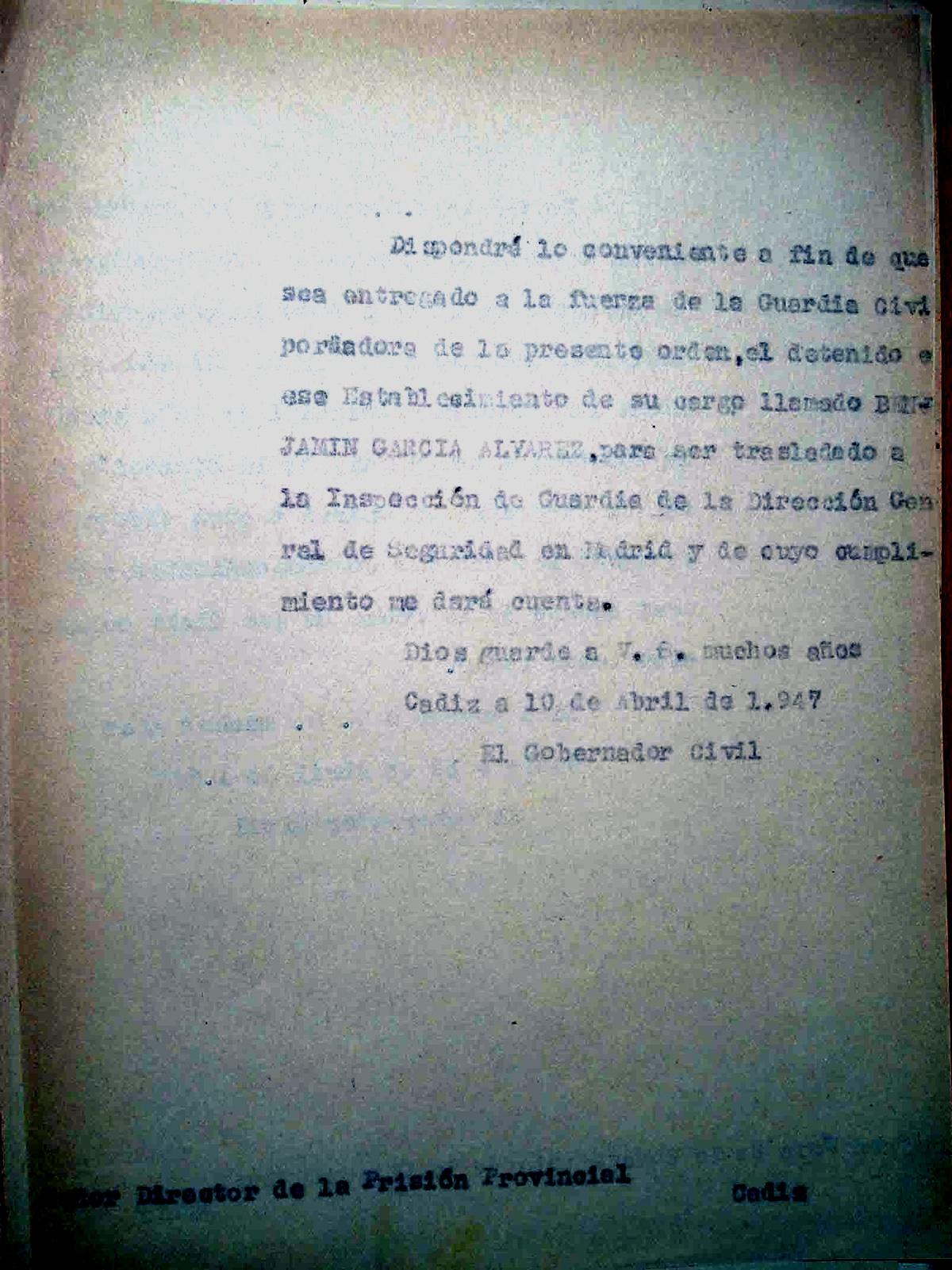 Escrito al Director de la Prisión de Cádiz para el traslado de Benjamín García Álvarez