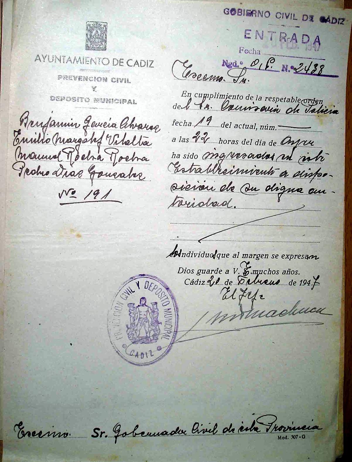Escrito de la Prevención Civil de Cádiz notificando el ingreso de Benjamín García Álvarez