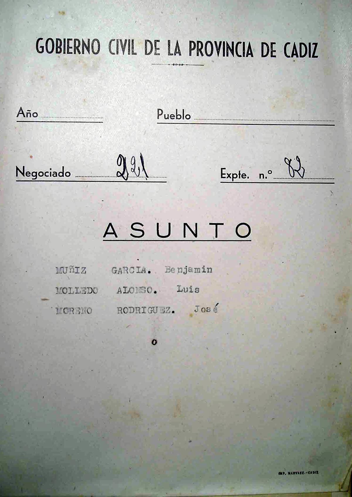 Portada del expediente Nº 82 del Gobierno Civil sobre Benjamín García Álvarez