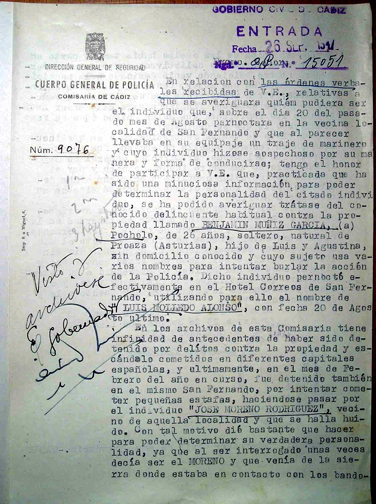 Informe sobre la localización de Benjamín García Álvarez en San Fernando después de la Explosión 1