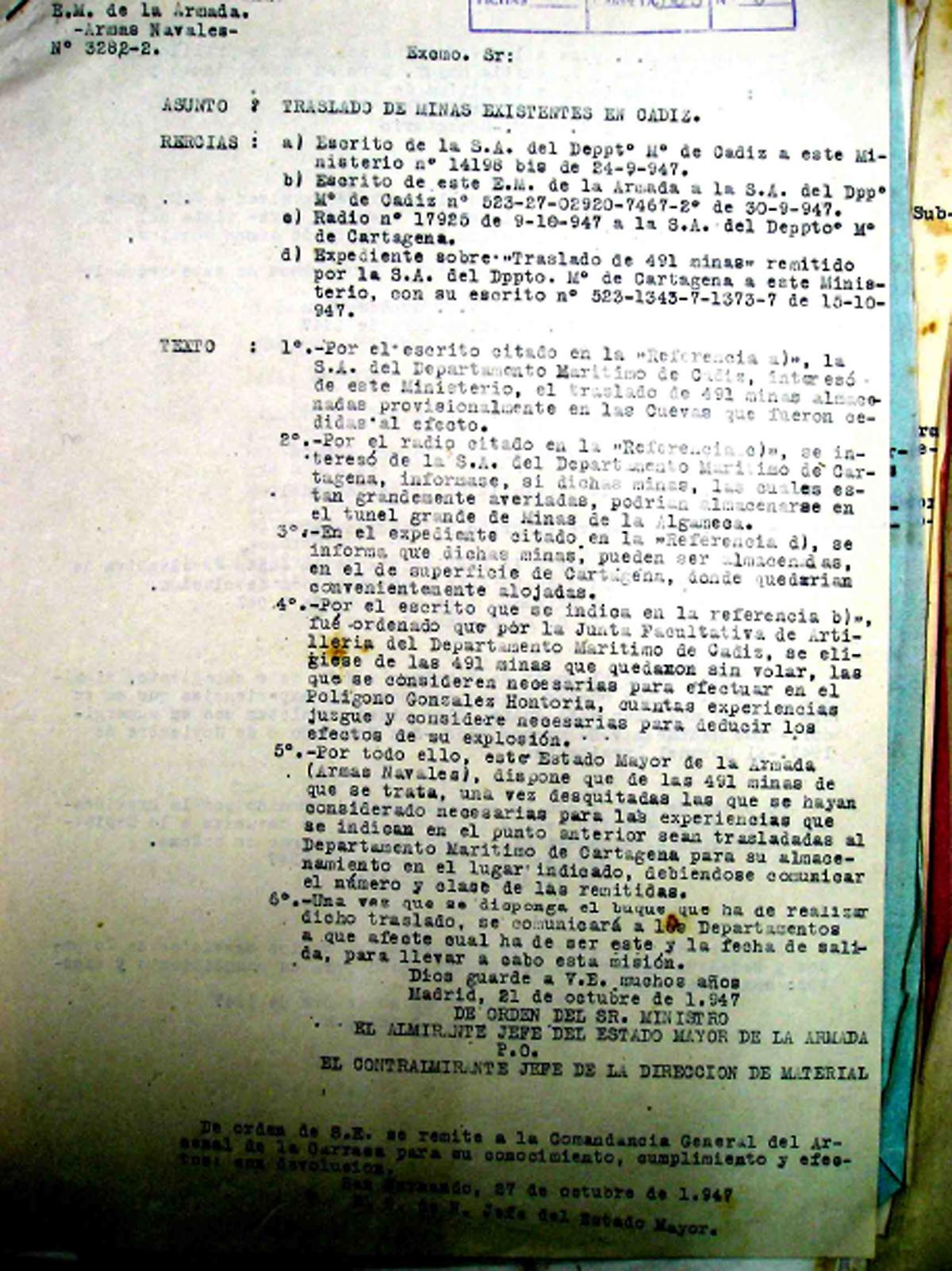 Orden de traslado de las 491 minas supervivientes a la Base de Cartagena