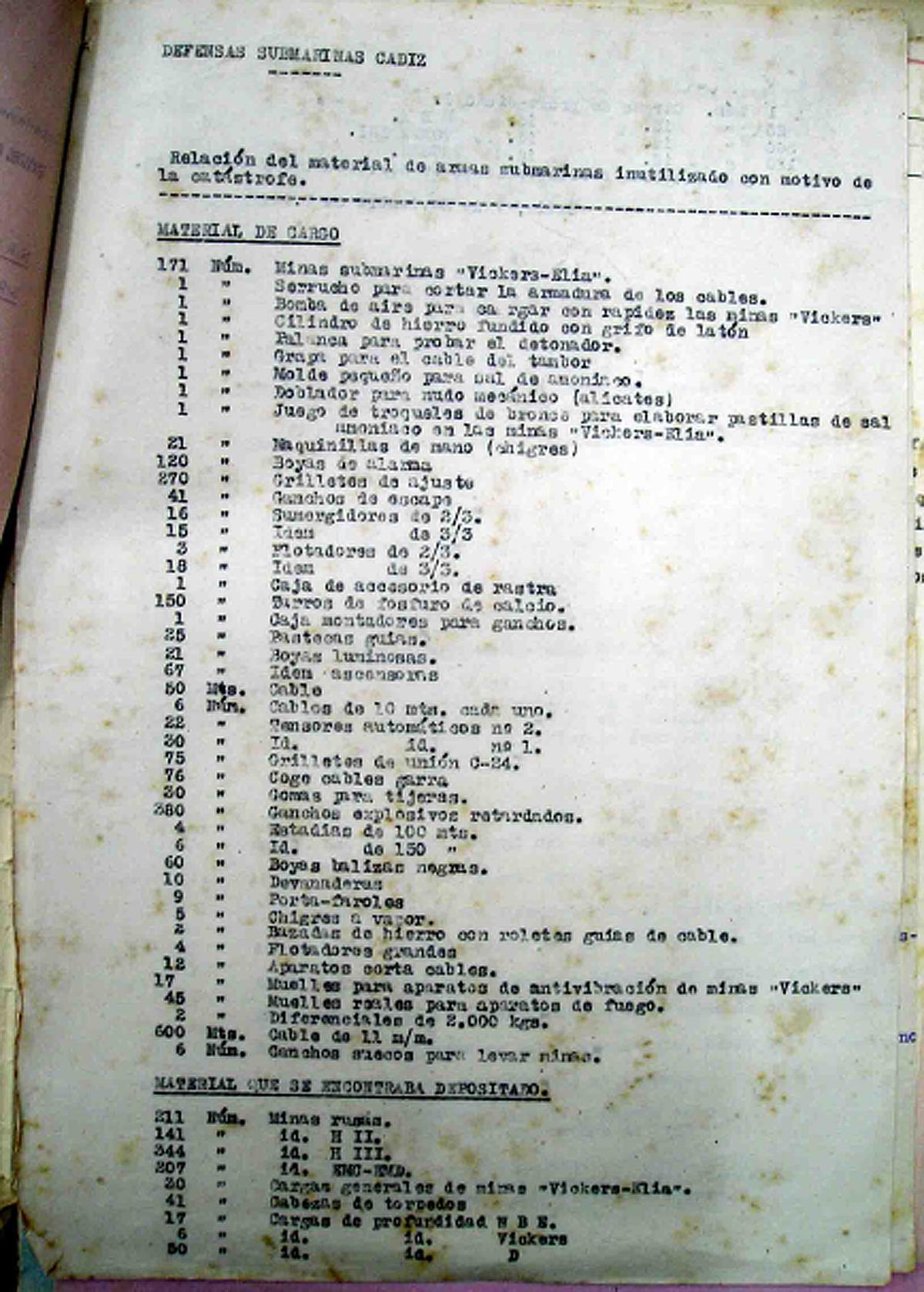 Listado del material inutilizado por la explosión en Defensas Submarinas 1