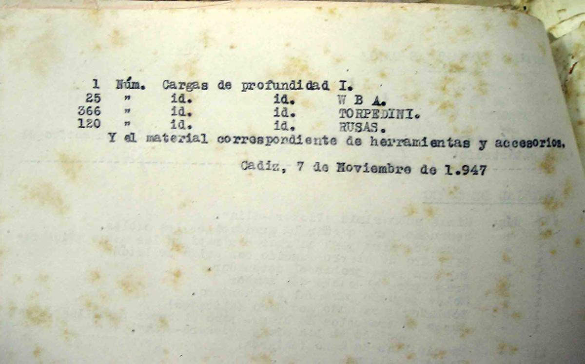 Listado del material inutilizado por la explosión en Defensas Submarinas 2