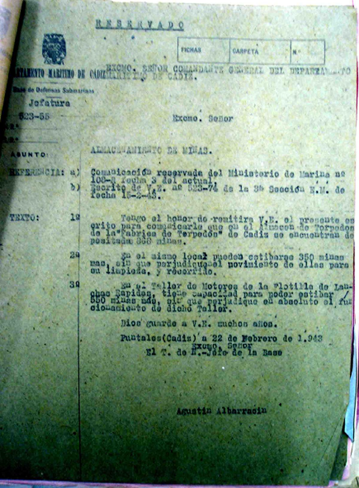 Escrito sobre el almacenamiento de minas existente a 22 de febrero de 1943