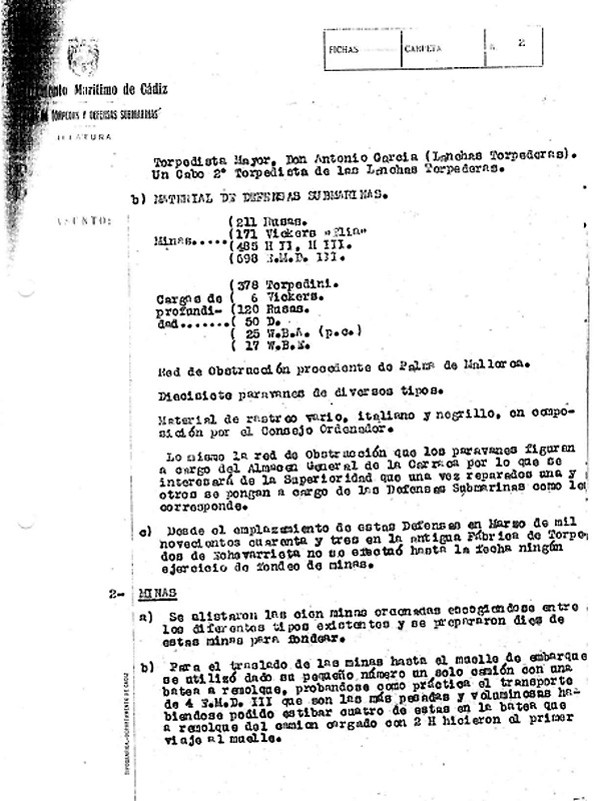 Memoria de ejercicios y movilización de la Base de Defensas Submarinas de Cádiz