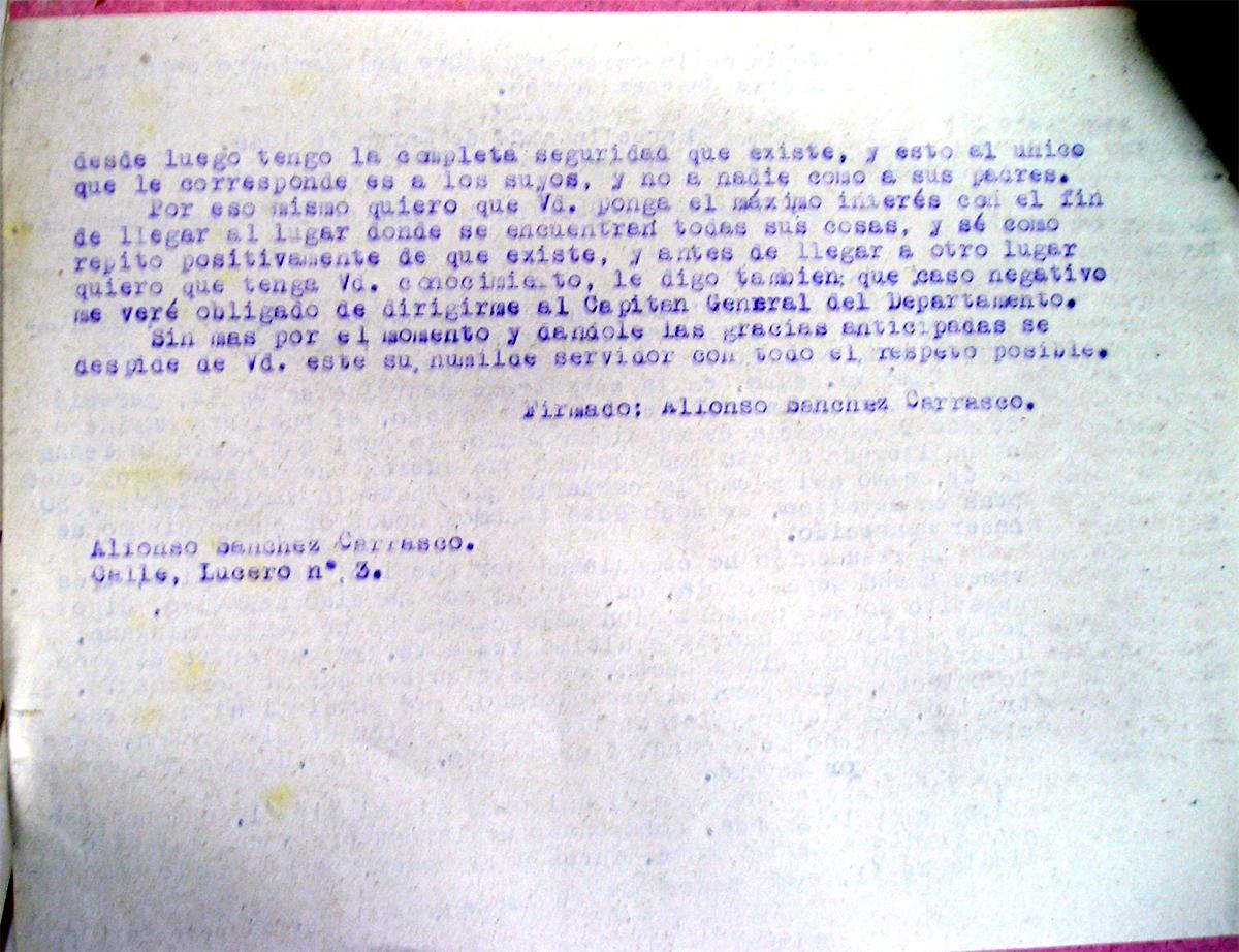 Tercera carta desesperada de los padres de Andrés Sánchez Orozco reclamando los recuerdos de su hijo 4