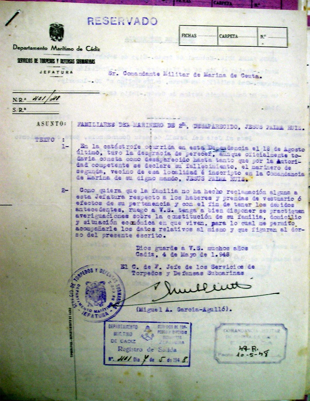 Escrito de García-Agulló solicitando la localización de la familia de Jesús Palma Ruiz
