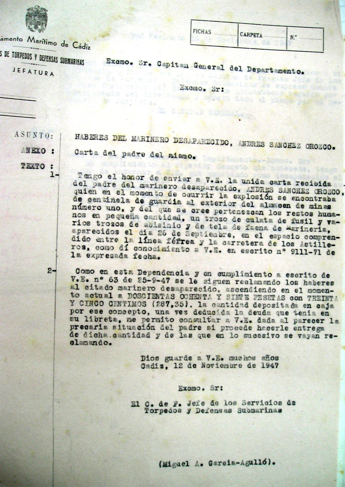 Carta de García-Agulló al Capitán General con la reclamación del padre de Andrés Sánchez Orozco