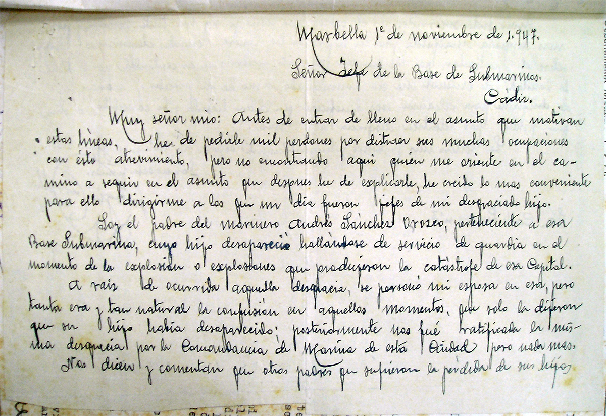 Carta del padre de Andrés Sánchez Orozco dirigida al comandante de la base 1