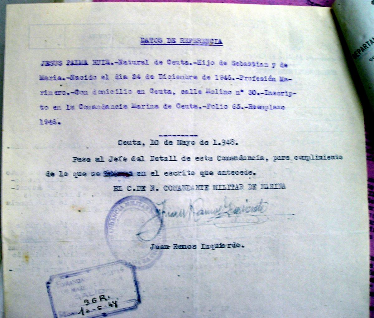 Datos de referencia del marinero desaparecido Jesús Gabriel Palma Ruiz