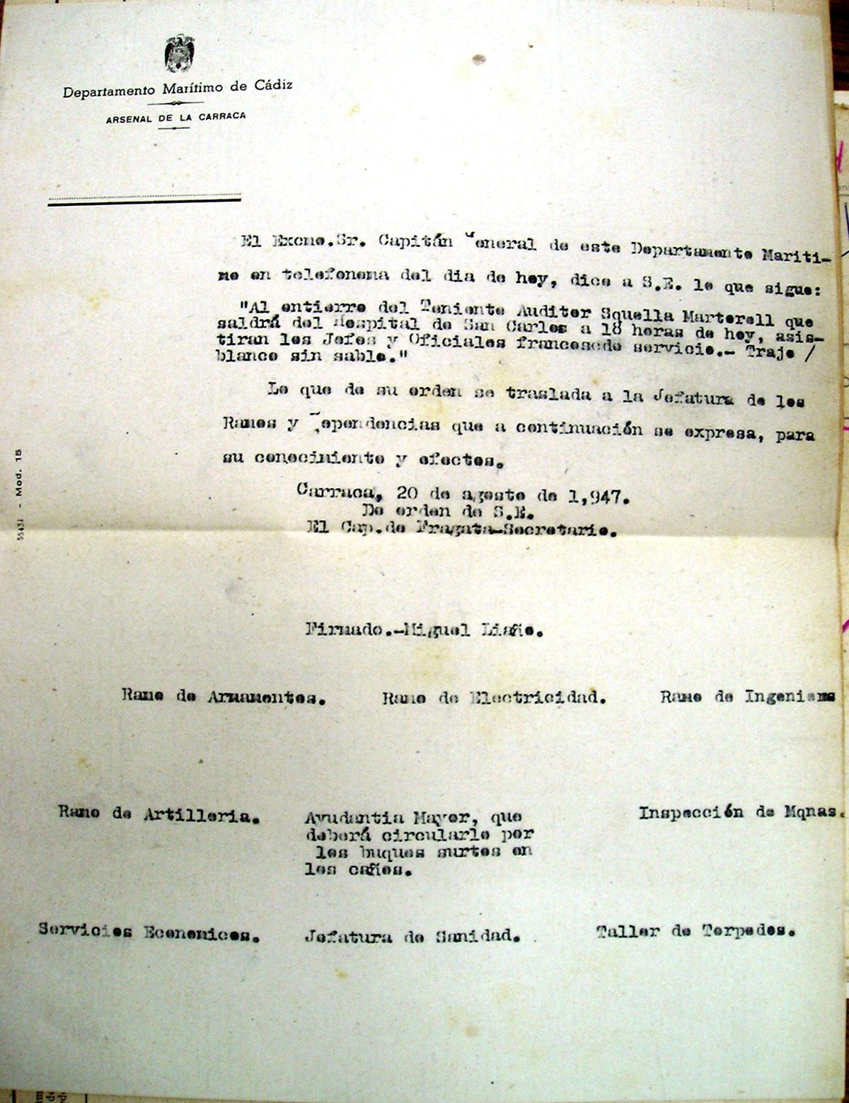 Telefonema del Capitán General sobre el entierro del teniente auditor Gabriel Squella Martorell