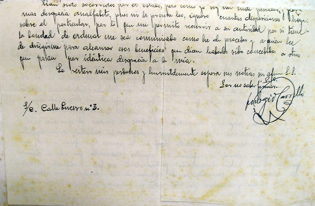 Carta del padre de Andrés Sánchez Orozco dirigida al comandante de la base 2