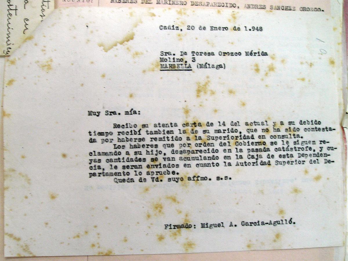 Respuesta del comandante de la base a la madre de Andrés Sánchez Orozco