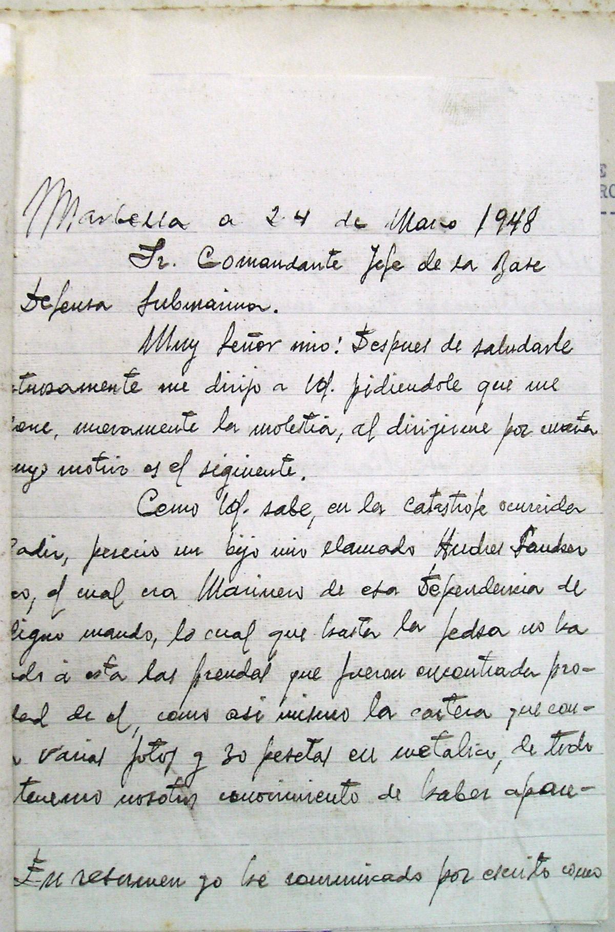 Tercera carta desesperada de los padres de Andrés Sánchez Orozco reclamando los recuerdos de su hijo 1