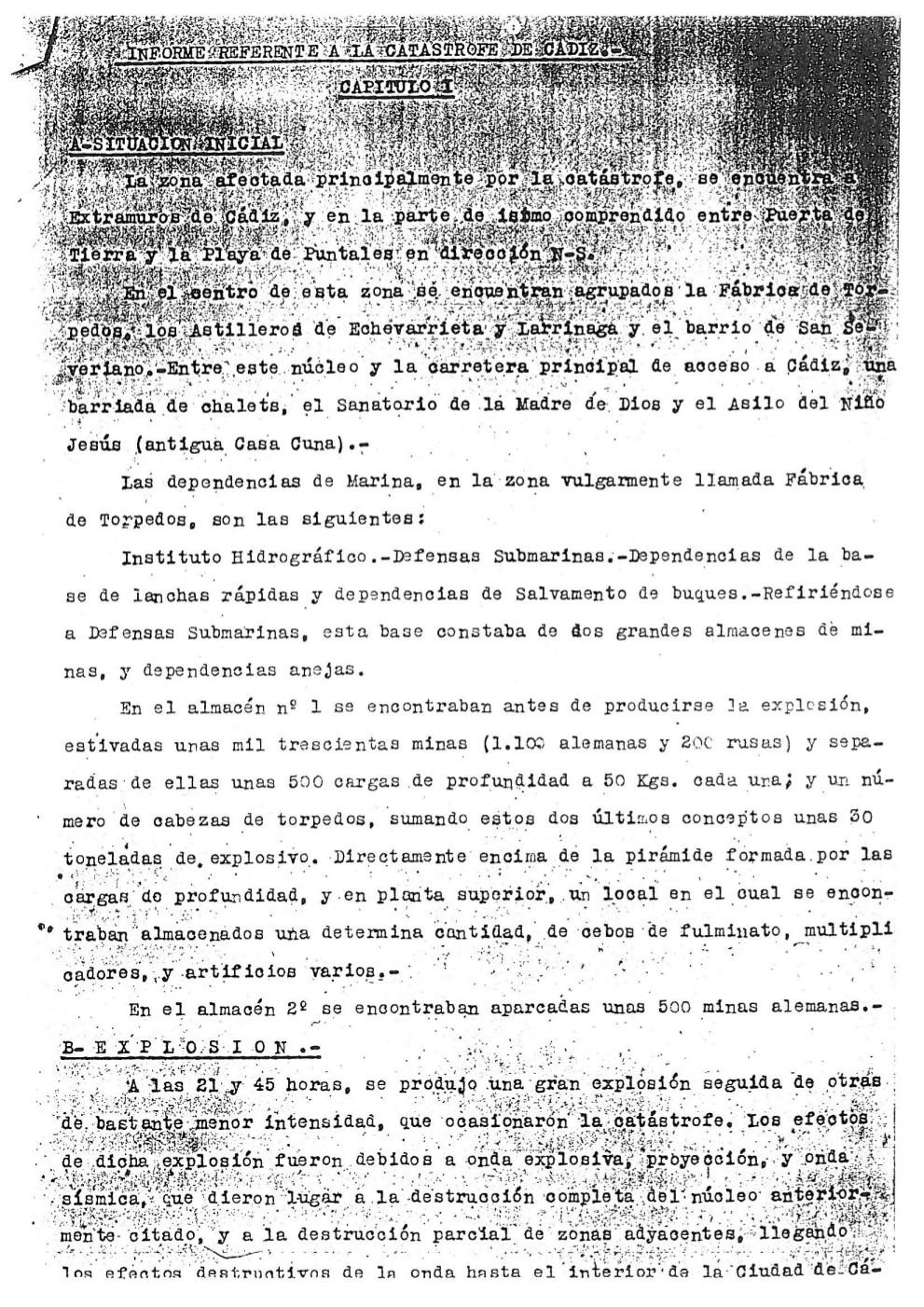 Informe del Almirante Estrada de 30 de agosto de 1947-08-1947