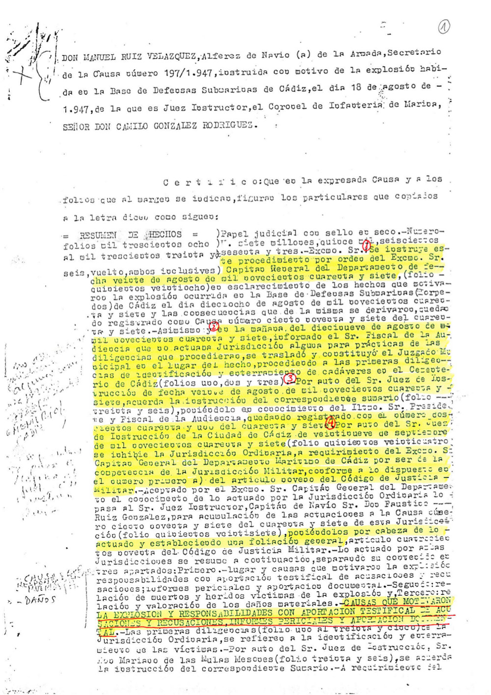 Resumen de la causa militar 197/47