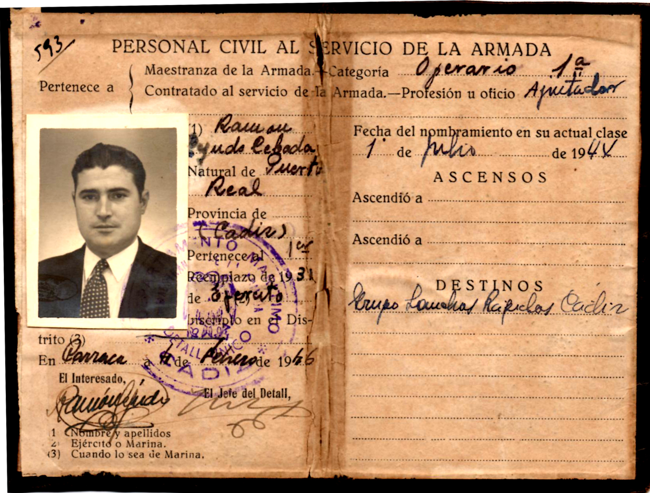 Carnet de la Maestranza de Ramón Cejudo Cebada